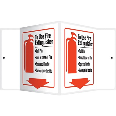 Accuform Signs® To Use Fire Extinguisher Projection Sign, Red/Black/White, 6H x 8.5W, 1/Pack