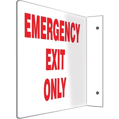 Accuform Signs® Emergency Exit Only Projection Sign, Red/White, 8H x 12W, 1/Pack (PSP226)