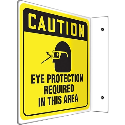 Accuform Signs® Eye Protection Required In This Area Projection Sign, Black/Yellow, 8H x 8W, 1/Pk