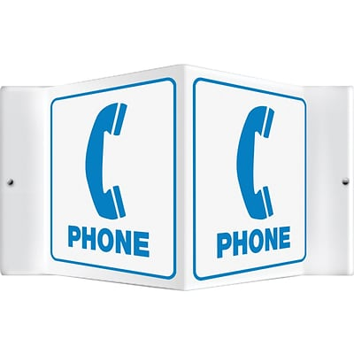 Accuform Signs® Phone Projection Sign, Blue/White, 6H x 5W, 1/Pack
