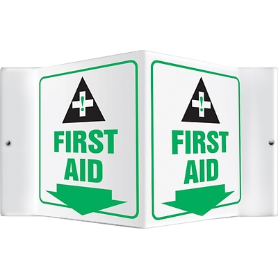 Accuform Signs® First Aid Projection Sign, Green/Black/White, 6H x 5W, 1/Pack