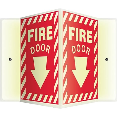 Accuform Signs® Fire Door Projection Sign, White/Red, 12H x 9W, 1/Pack (PSP353)