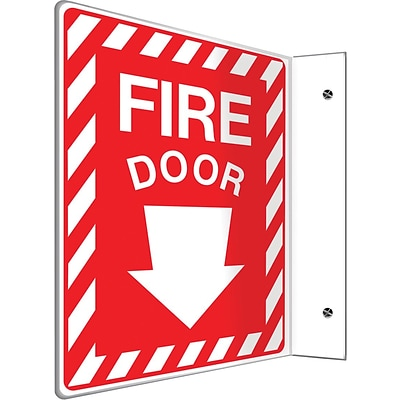 Accuform Signs® Fire Door Projection Sign, White/Red, 12H x 9W, 1/Pack (PSP429)