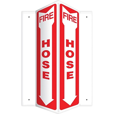 Accuform Signs® Fire Hose Projection Sign, Red/White, 18H x 4W, 1/Pack (PSP366)