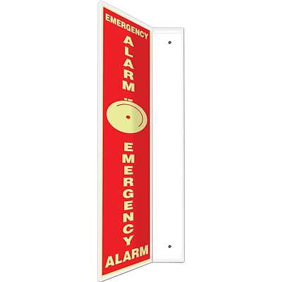 Accuform Signs® Emergency Alarm Projection Sign, White/Red, 24H x 4W, 1/Pack (PSP714)
