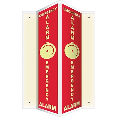 Accuform Signs® Emergency Alarm Projection Sign, White/Red, 24H x 4W, 1/Pack