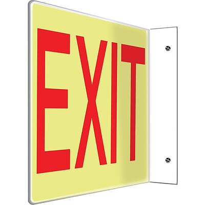 Accuform Signs® Exit Projection Sign, Red/White, 8H x 12W, 1/Pack