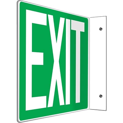 Accuform Signs® Exit Projection Sign, White/Green, 8H x 12W, 1/Pack (PSP225)