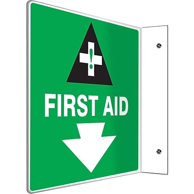 Accuform Signs® First Aid Projection Sign, 8H x 8W, 1/Pack, White/Black/Green
