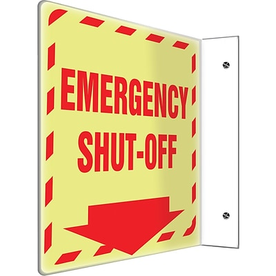 Accuform Signs® Emergency Shut-Off Projection Sign, Red, 8H x 8W, 1/Pack