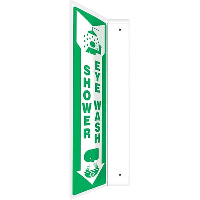 Accuform Signs® Shower Eye Wash Projection Sign, Green/White, 18H x 4W, 1/Pack (PSP439)