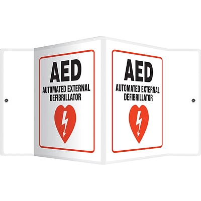 Accuform Signs® AED Automated External Defibrillator Projection Sign, Red/Black/White, 6H x 5W
