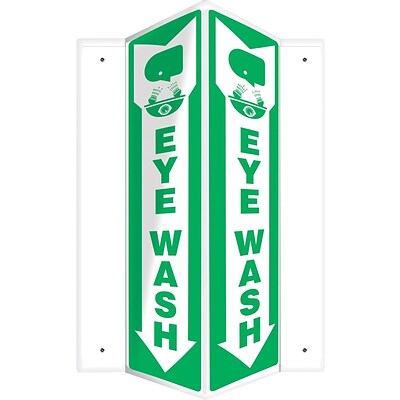 Accuform Signs® Eye Wash Projection Sign, Green/White, 18H x 4W, 1/Pack (PSP369)