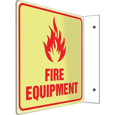 Accuform Signs® Fire Equipment Projection Sign, Red, 8H x 8W, 1/Pack