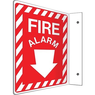 Accuform Signs® Fire Alarm Projection Sign, White/Red, 12H x 9W, 1/Pack (PSP400)