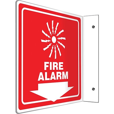Accuform Signs® Fire Alarm Projection Sign, White/Red, 8H x 8W, 1/Pack