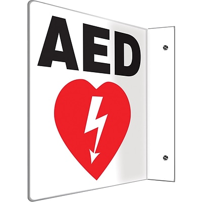 Accuform Signs® AED Projection Sign, Red/Black/White, 8H x 8W, 1/Pack