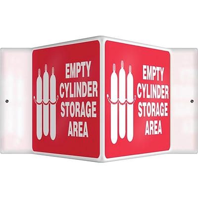 Accuform Signs® Full Cylinder Storage Area Projection Sign, White/Red, 6H x 5W, 1/Pack