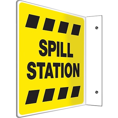 Accuform Signs® Spill Station Projection Sign, Black/Yellow, 8H x 8W, 1/Pack