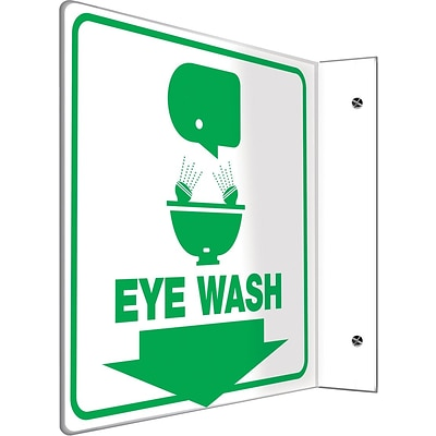 Accuform Signs® Eye Wash Projection Sign, Green/White, 8H x 8W, 1/Pack