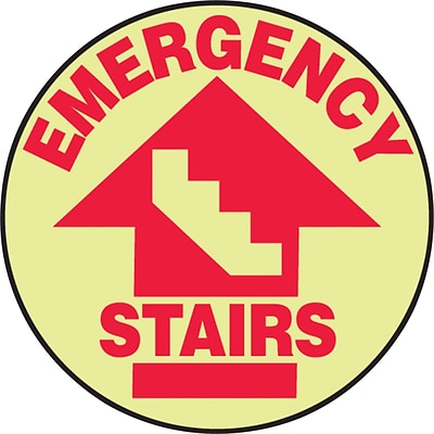 Accuform Signs® Slip-Gard™ EMERGENCY STAIRS Round Floor Sign, Red/White, 17Dia., 1/Pack (MFS763)