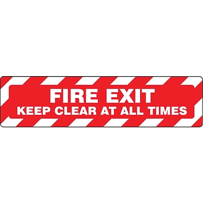 Accuform Signs® Slip-Gard™ FIRE EXIT KEEP CLEAR AT ALL TIMES Border Floor Sign, White/Red, 6 x 24