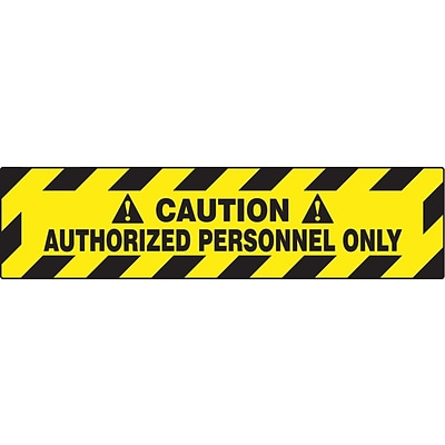 Accuform Signs® Slip-Gard™ CAUTION AUTHORIZED PERSONNEL ONLY Border Floor Sign, Black/Yellow, 6x24