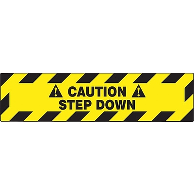 Accuform Signs® Slip-Gard™ CAUTION STEP DOWN Border Floor Sign, Black/Yellow, 6H x 24W, 1/Pack