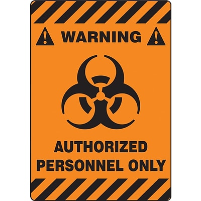 Accuform Signs® Slip-Gard™ WARNING AUTHORIZED PERSONNEL ONLY Border Floor Sign, BLK/Orange, 20x14