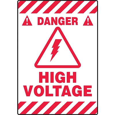 Accuform Signs® Slip-Gard™ DANGER HIGH VOLTAGE Border Floor Sign, Red/White, 20H x 14W, 1/Pack