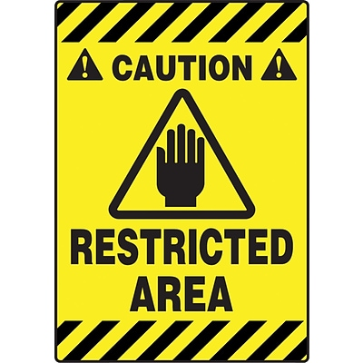 Accuform Signs® Slip-Gard™ CAUTION RESTRICTED AREA Border Floor Sign, Black/Yellow, 20H x 14W