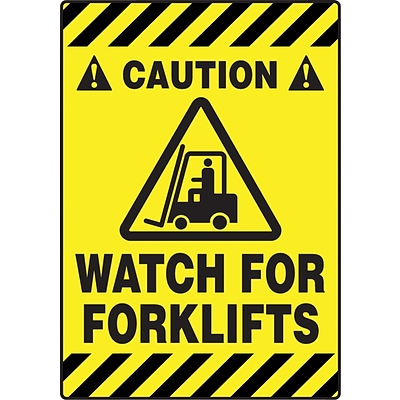 Accuform Signs® Slip-Gard™ CAUTION WATCH FOR FORKLIFTS Border Floor Sign, Black/Yellow, 20H x 14W