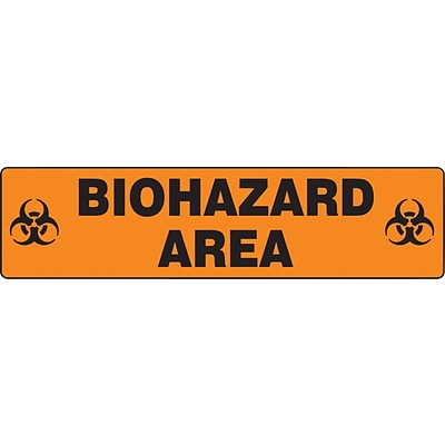 Accuform Signs® Slip-Gard™ BIOHAZARD AREA Border Floor Sign, Black/Orange, 6H x 24W, 1/Pack