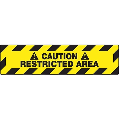 Accuform Signs® Slip-Gard™ CAUTION RESTRICTED AREA Border Floor Sign, Black/Yellow, 6H x 24W, 1/Pk