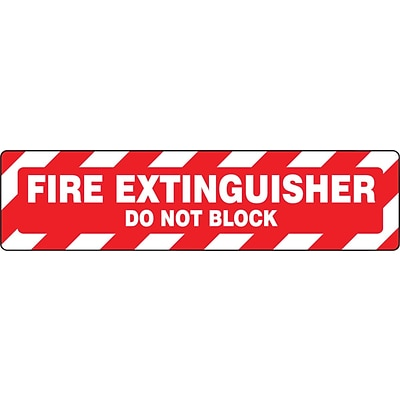 Accuform Signs® Slip-Gard™ FIRE EXTINGUISHER DO NOT BLOCK Border Floor Sign, White/Red, 6H x 24W