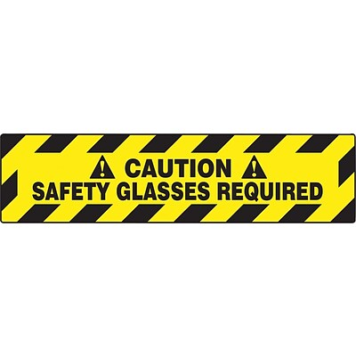 Accuform Signs® Slip-Gard™ CAUTION SAFETY GLASSES REQUIRED Border Floor Sign, Black/Yellow, 6 x 24