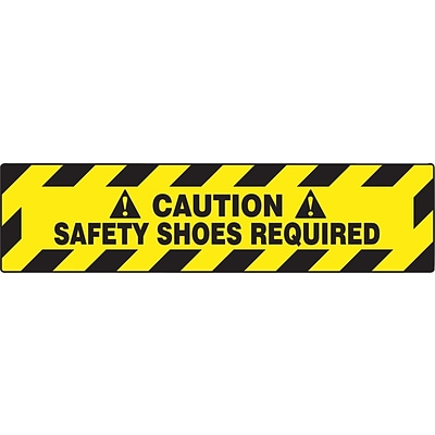 Accuform Signs® Slip-Gard™ CAUTION SAFETY SHOES REQUIRED Border Floor Sign, Black/Yellow, 6H x 24W