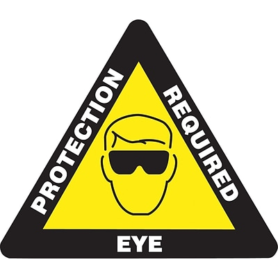 Accuform Signs® Slip-Gard™ EYE PROTECTION REQUIRED Triangle Floor Sign, White/Yellow/Black, 17x17
