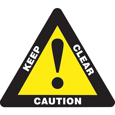 Accuform Signs® Slip-Gard™ CAUTION KEEP CLEAR Triangle Floor Sign, White/Yellow/Black, 17H x 17W