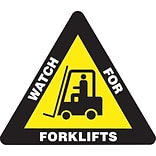 Accuform Signs® Slip-Gard™ WATCH FOR FORKLIFTS Triangle Floor Sign, White/Yellow/Black, 17H x 17W