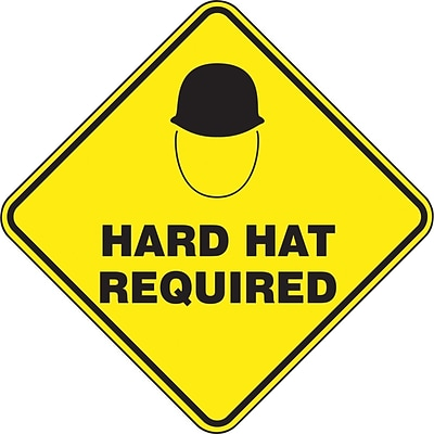 Accuform Signs® Slip-Gard™ HARD HAT REQUIRED Diamond Floor Sign, Black/Yellow, 17H x 17W, 1/Pack