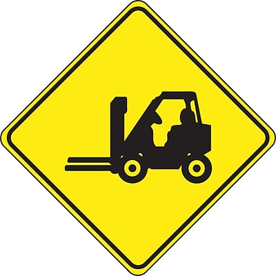 Accuform Signs® Slip-Gard™ Forklift Pictorial Diamond Floor Sign, Black/Yellow, 17H x 17W, 1/Pack