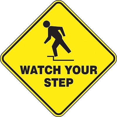 Accuform Signs® Slip-Gard™ WATCH YOUR STEP Diamond Floor Sign, Black/Yellow, 17H x 17W, 1/Pack