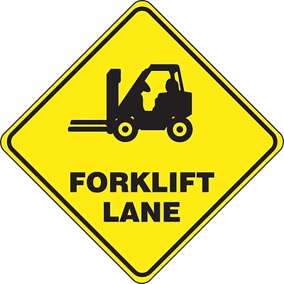 Accuform Signs® Slip-Gard™ FORKLIFT LANE Diamond Floor Sign, Black/Yellow, 17H x 17W, 1/Pack