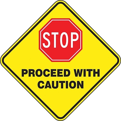 Accuform Signs® Slip-Gard™ STOP PROCEED WITH CAUTION Diamond Floor Sign, Black/Yellow/Red, 17 x 17