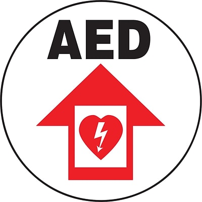 Accuform Signs® Slip-Gard™ AED Round Floor Sign, Black/Red/White, 8Dia., 1/Pack
