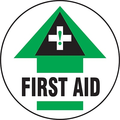 Accuform Signs® Slip-Gard™ FIRST AID Round Floor Sign, Green/Black/White, 8Dia., 1/Pack