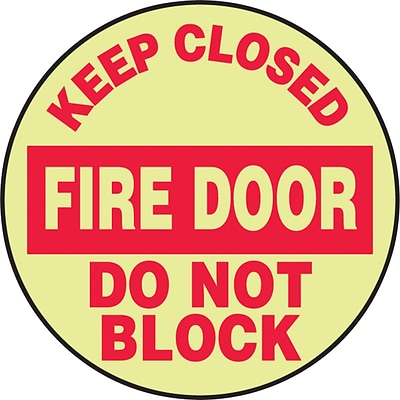 Accuform Signs® Slip-Gard™ KEEP CLOSED FIRE DOOR DO NOT BLOCK Round Floor Sign, Red/Yellow, 8Dia.