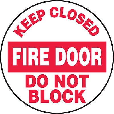 Accuform Signs® Slip-Gard™ KEEP CLOSED FIRE DOOR DO NOT BLOCK Round Floor Sign, Red/White, 17Dia.