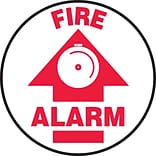 Accuform Signs® Slip-Gard™ FIRE ALARM Round Floor Sign, Red/White, 8Dia., 1/Pack